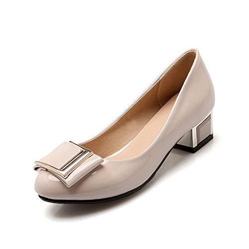 VogueZone009 Damen Niedriger Absatz Rein Ziehen auf Rund Zehe Pumps Schuhe Cremefarben