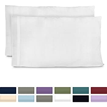 Cosy House Collection Luxury Bamboo Standard Size Pillowcases - White Pillowcase Set of 2 - Ultra Soft & Cool Hypoallergenic Natural Bamboo Blend Cover - Resists Stains, Wrinkles, Dust Mites