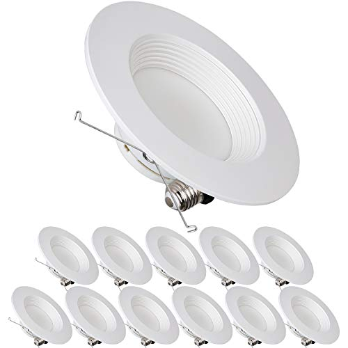 Hykolity 5/6 Inch LED Recessed Downlight Retrofit, 12 Pack 12W LED Can Light Bulb, Baffle Trim, 1000lm 5000K Daylight LED Recessed Ceiling Light, CRI90, Damp Rated, Dimmable, ETL