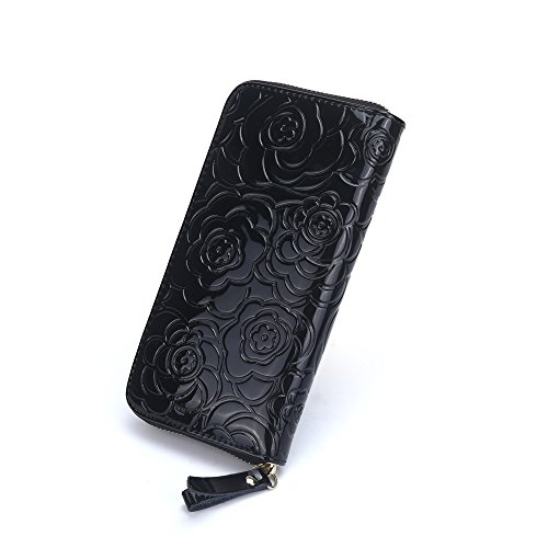 Deanna Rich Womens Zipper around Phone case Long Wallet(Black)