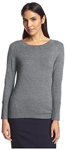 SOCIETY NEW YORK Women's Button Sleeve Boatneck Sweater, Charcoal, (Boatneck Wool Sweater)