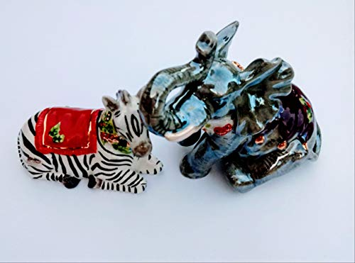 Waterford Holiday Heirlooms Zebra and Elephant Salt and Pepper Shakers
