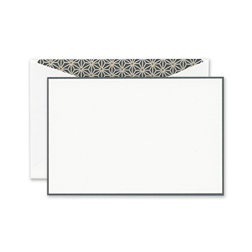 Crane Charcoal Bordered Correspondence Card with Vintage Starlight Lining (Bordered Correspondence Cards)