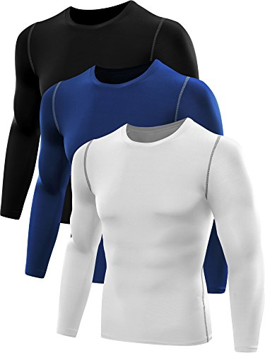 Neleus Men's 3 Pack Athletic Compression Sport Running T Shirt Long Sleeve Base Layer,Black,White,Blue,Large