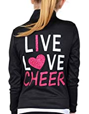 Stretch is Comfort Girl's Rayon Live Love Cheer Warm Up Black Jacket