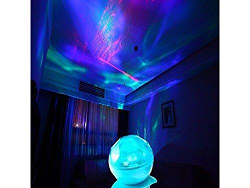 Ozean dynamischen Schlaf Nachtlicht-Lampen-Ozean-Wellen-Lampe mit Musik für Schlafzimmer Wohnzimmer Badezimmer Babyzimmer Kinderzimmer (blue)