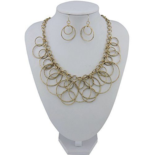 Bocar Handmade Chain Hoops Statement Simple Short Necklace Earring Set for Women - http://coolthings.us