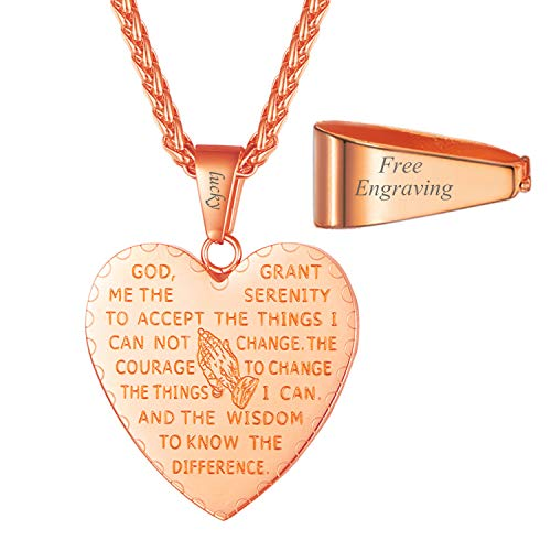 (U7 Bible Verse Prayer Necklace & Rope Chain 22 Inch Rose Gold Plated Serenity Praying Hands Heart Pendant for Women and Men, with Custom Message Engrave Service)