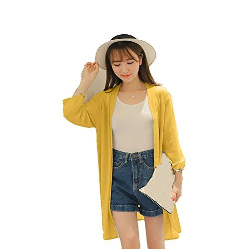 トップス カーデ レディース UVカット七分袖 オーバーサイズ ロング丈 軽やか素材 体型カバー おしゃれ フリーサイズ 女性用 薄手