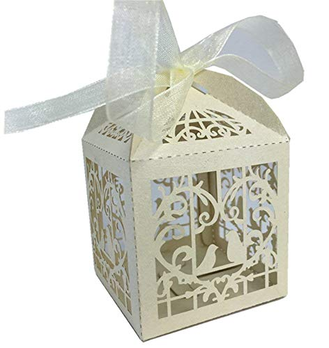 Derker 50 Pcs Romantic Hollow Out Love Birds Laser Cut Square Wedding Favor Candy Boxes Bridal Shower Party Favor Gift Boxes - Ribbon Included (White T)
