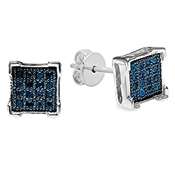 0.05 Carat (ctw) Round Blue Diamond V Prong Men's Iced Stud Sterling Silver Earrings