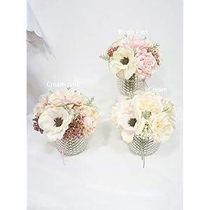 Sweet Home Deco 7'' Silk Anemone Peony Greenery Floral Arrangement Table Bonsai Wedding Centerpiece Home Decor 45