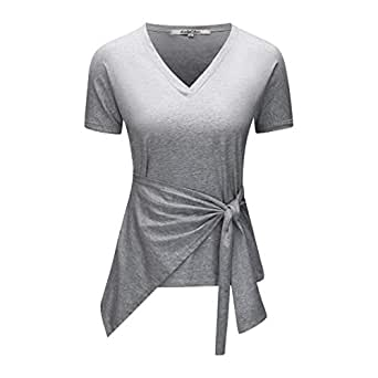 KalyChic Womens Summer Solid Short Sleeve V Neck Loose Self Knot Front Tee Shirt Top - Grey - Small