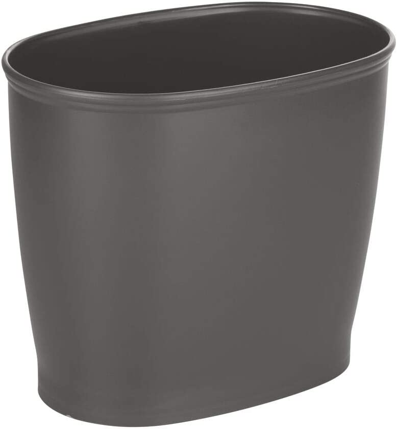 mDesign Modern Oval Plastic Small Trash Can Wastebasket, Garbage Container Bin for Bathroom, Kitchen, Laundry Room, Home Office, Dorms - Charcoal Gray