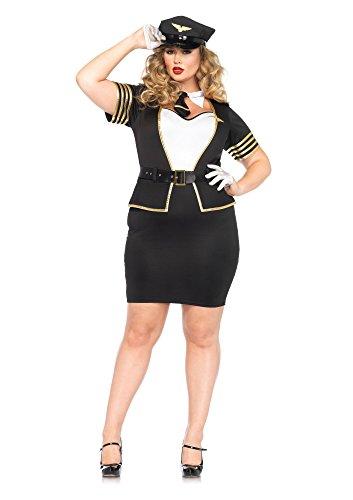4 PC. Ladies Mile High Pilot Dress - 3XL/4XL - Black/White