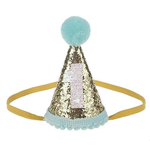 Petsidea Glitter Dog First Birthday Cone Hat Mini Doggy Cat Kitty Birthday Party Hats (Mint Gold 1) by Petsidea