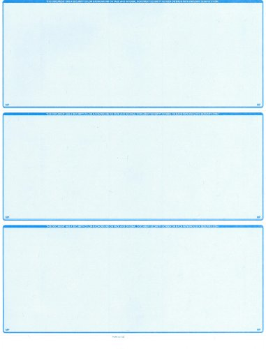 2500 Blank Laser Checks - 3 On a Page - Blue - Best Security by MyLaserChecks