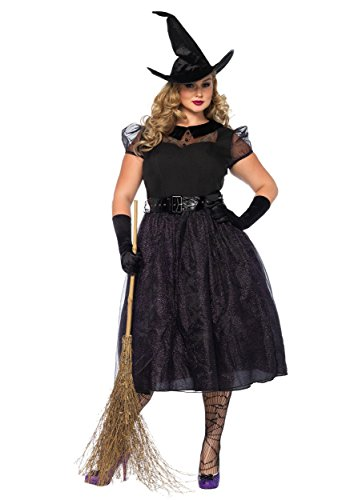Darling Womens Costumes (Leg Avenue Women's Plus Size Darling Spellcaster Costume, Black, 1X-2X)
