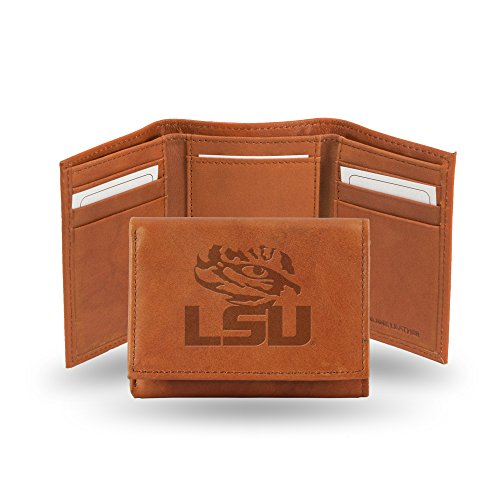Rico Industries NCAA LSU Tigers Embossed Leather Trifold Wallet, Tan