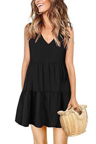Sleeveless Dresses for Women Classic Solid 1920s Black Shirt Dress XX-Large -
