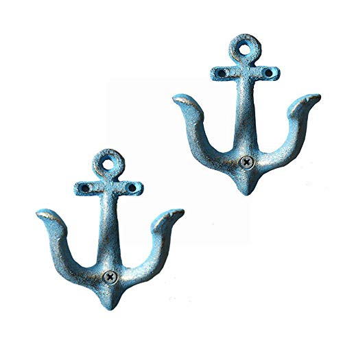 MetaView Vintage Cast Iron National Anchor Wall-Mounted Hooks,Decorative Wall Coat Hat Towel Hanging Bar Cafe Wall Decoration,Screws Included,Set of 2 (Blue)