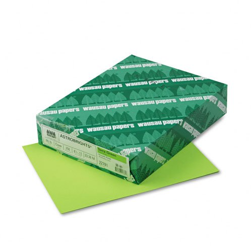 Wausau Paper : Astrobrights Colored Card Stock, 65lb, Terra Green, Letter, 250 Sheets per Pack -:- Sold as 2 Packs of - 250 - / - Total of 500 Each