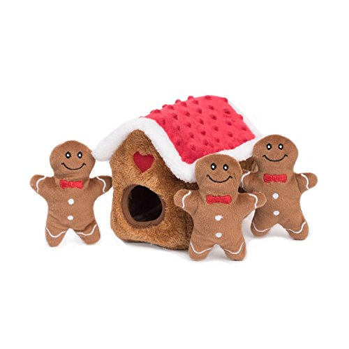 ZippyPaws - Holiday Burrow, Interactive Squeaky Hide and Seek Plush Dog Toy - Gingerbread House (Gingerbread Toy House)