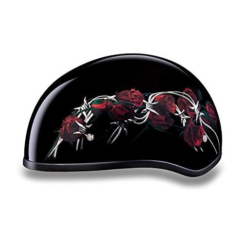- DOT Barbed Wire and Roses Motorcycle Half Helmet (Size M, MD, Medium)