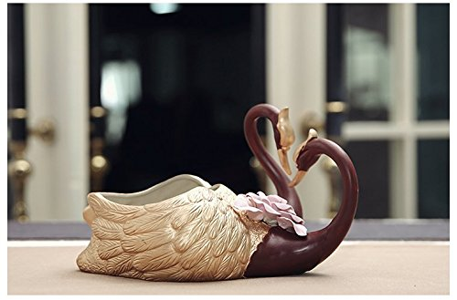 Handmade Ceramic Pottery Home/ Garden Exquisite Elegant Golden Lover Swan Flower Planter Pot Fired by High Temperature with a Drain Hole