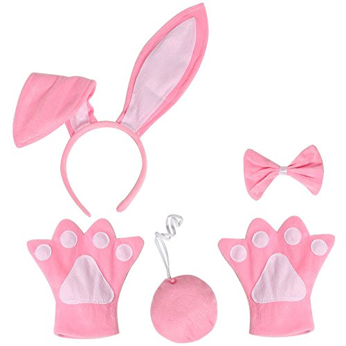 Mwfus Baby Girls Rabbit Bunny Ear Fancy Dress Cosplay Headband Bowtie Paw Gloves Tail Set -