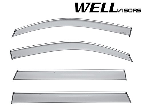 WellVisors Side Window Wind Deflector Visors - For Chevrolet Chevy Tahoe GMC Yukon Cadillac Escalade 15-17 2015 2016 2017 With Chrome ()