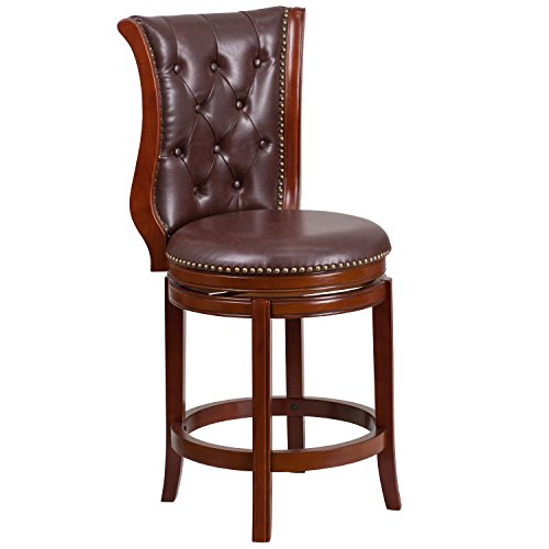 - Flash Furniture 26'' High Dark Chestnut Wood Counter Height Stool with Hepatic Leather Swivel Seat
