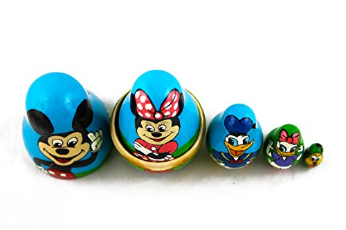 Matryoshka Babushka Russian Nesting Wooden Doll Cartoon Mickey Mouse Minnie Donald Duck Babouska Matrioska Stacking 5 Pcs by MATRYOSHKA&HANDICRAFT (Image #6)