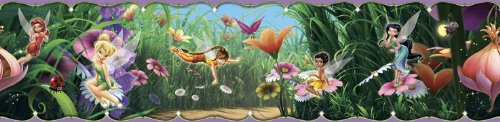 Blue Mountain Wallcoverings DS026453 Disney Fairies Movie Self-Stick Wall Border, 5-Inch by (Pink Self Stick Wall Border)