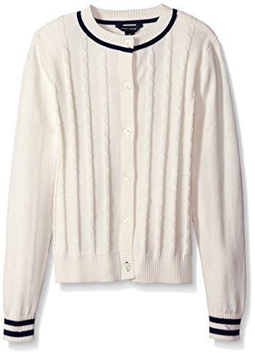 Tommy Hilfiger Big Girls Core Cardigan, Whisper White, Medium/8/10 (Tommy Hilfiger Women Cardigan)