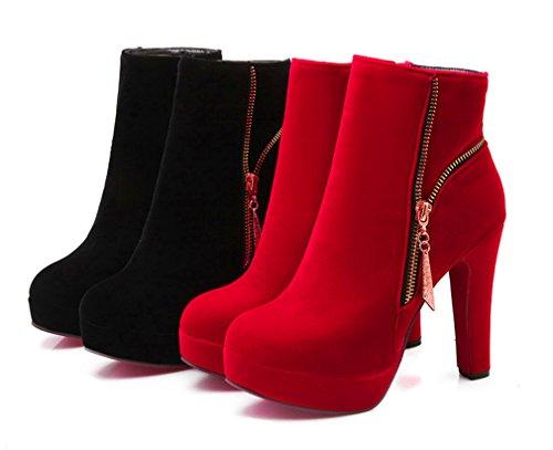 YE Damen Round Spitze High Heels Plateau Stiefeletten Blockabsatz Wildleder Ankle Boots mit Reißverschluss Schuhe Schwarz