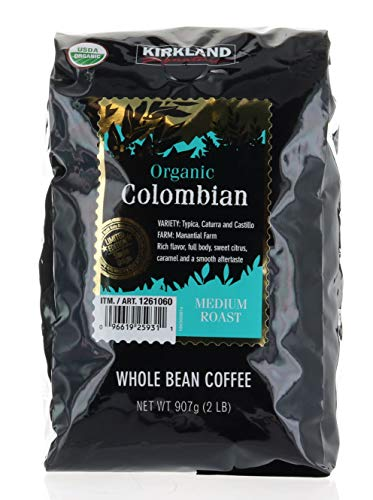 Kirkland Signature Limited Edition Single Origin Organic Colombian Medium Roast Whole Bean Coffee 2LB