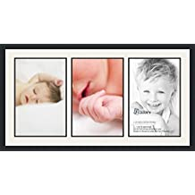 ArtToFrames Double-Multimat-1539-61/89-FRBW26079 Collage Photo Frame Mat, 3-12x18, Satin Black