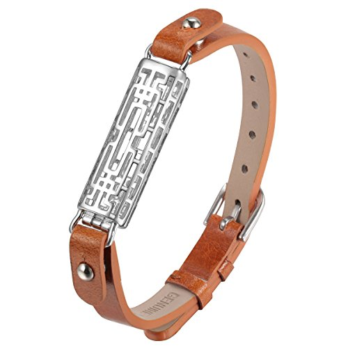 bayite for Fitbit Flex 2 Bracelet Bands Genuine Leather and Metal Wristbands for Flex2 Brown with Silver Sleeve