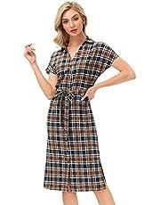 Kate Kasin Women's V Neck Button Down Summer Dress with Belt Casual Beach Dresses Side Split