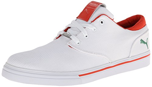 PUMA Mens EL Seevo Canvas Fashion Sneaker White/Medium Green/Grenadine