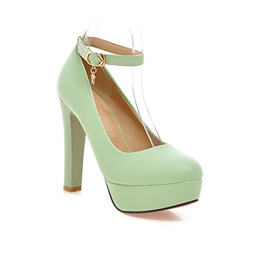 BalaMasa Heels Rubber Shoes Green High Buckle Pumps Solid Womens Zwq7r1Z