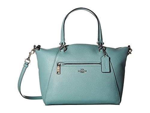 COACH Women's Prairie Satchel in Polished Pebble Leather Sv/Light Turquoise One Size
