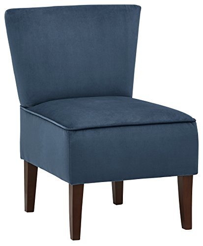 Rivet Ashworth Armless Velvet Accent Chair, Navy