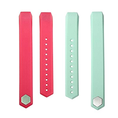 bayite Accessory Silicone Watch Band for Fitbit Alta , Pack of 2, Pink and Teal, Large Small