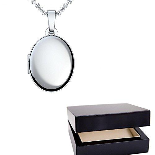 Medaillon oval Silber Amulett (Mealion, Medallion) zum Öffnen, aufklappen, aufklappbar mit Kette für Foto Silber Kette 925 + inkl. Luxusetui + Kette Silber Kette ohne FF04 SS92545