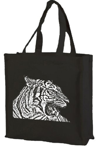 Tiger bag tote Cotton Black Tiger tote shopping shopping bag Cotton Y8nxqp5