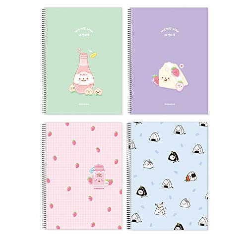 (Convenience Store Foods Spiral College Ruled Notebook Stationery School Supplies : Set of 4)