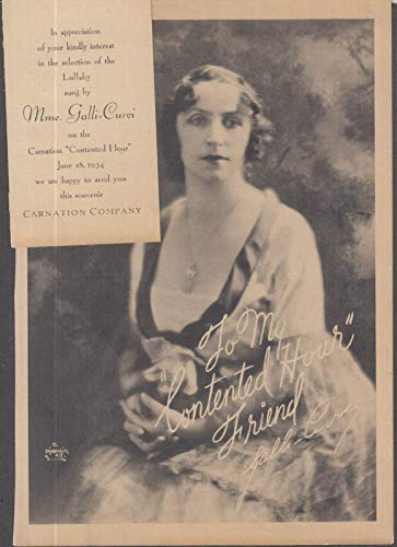 Mme Galli-Gurci souvenir print Carnation Company Continental Hour radio 1934
