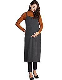 Sweet Mommy Maternity and Nursing Fur Fleece Lined Pinafore Dress
